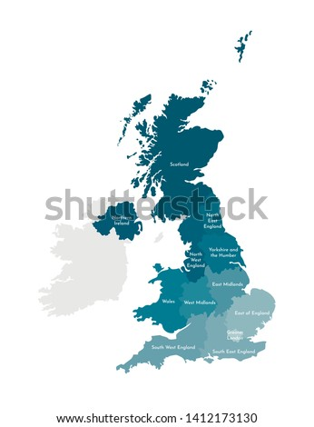 Vector isolated illustration of simplified administrative map of the United Kingdom of Great Britain and Northern Ireland. Borders and names of the regions. Colorful blue khaki silhouettes