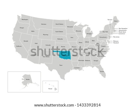 Vector isolated illustration of simplified administrative map of the USA. Borders of the states with names. Blue silhouette of Oklahoma (state)