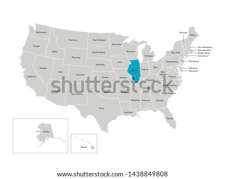 Vector isolated illustration of simplified administrative map of the USA. Borders of the states with names. Blue silhouette of Illinois (state)