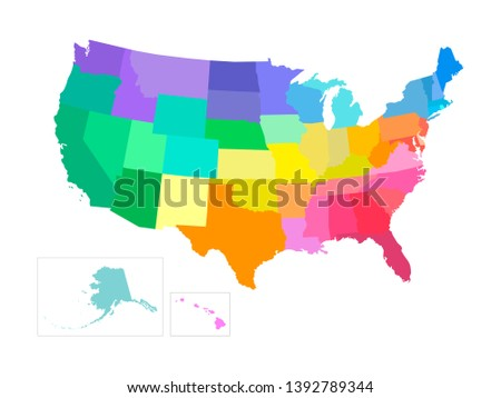 Vector isolated illustration of simplified administrative map of USA (United States of America). Borders of the states. Multi colored silhouettes