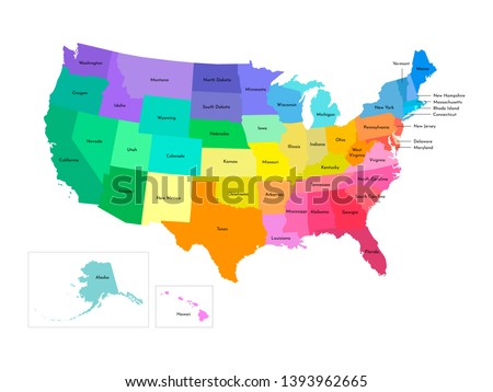 Vector isolated illustration of simplified administrative map of USA (United States of America). Borders and names of the states. Multi colored silhouettes