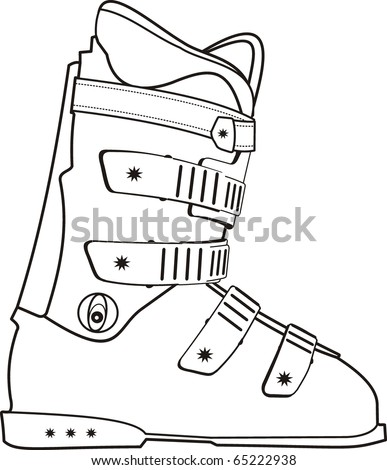 Vector isolated illustration of ski sports boot contour on white background