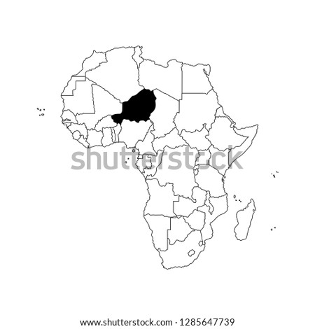 shutterstock puzzlepix Niger Interesting Places vector isolated illustration with african continent with borders of all states black outline political map