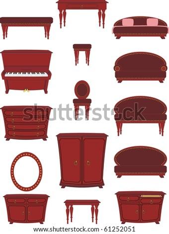 Vector isolated image of set of cartoon furniture on cartoon style