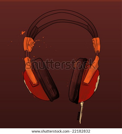 vector isolated image plastic headphones