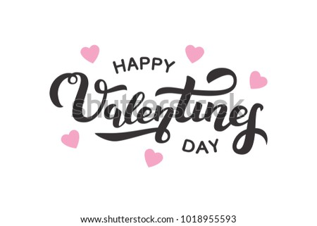 Vector isolated lettering for Valentine's Day with hearts for decoration and covering on the white background. Concept of Happy Valentine's Day. #1018955593