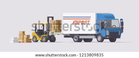 Vector isolated low poly flat isometric 3d post office forklift loading pallets with boxes into lorry truck