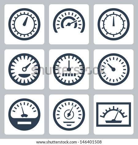 Meter Icon Vector Isolated Meters Icons