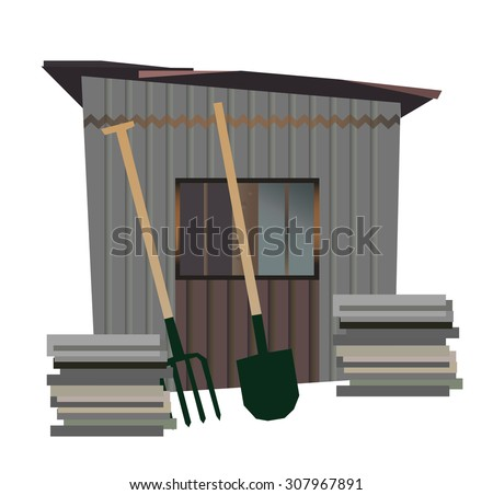 Vector isolated old garden shed 商業照片 ©