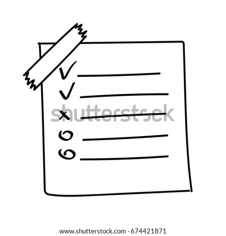 Vector isolated outline hand drawn check to do list, bullet, check mark and check box in a doodle sketch cartoon style. Paper note with task plan with tape.