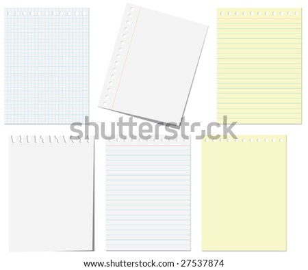 VECTOR. Isolated pages of notebook on the white