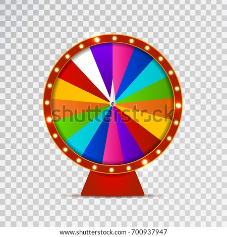 Vector isolated realistic fortune roulette wheel on the transparent background. Concept of casino, spin, lottery and winning.