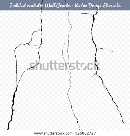 Vector isolated realistic wall cracks. Flat for instant color change.