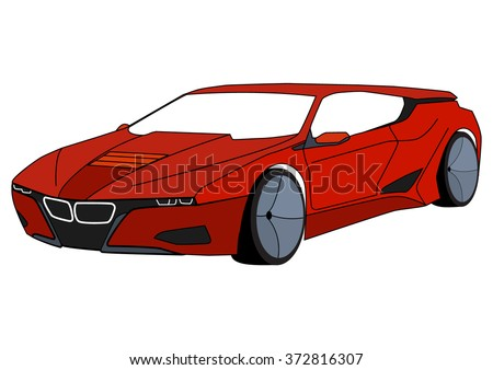 vector isolated red sport car