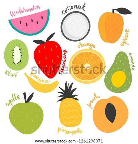 Vector isolated set of decorative kids fruit for print, decor.  #1261298071