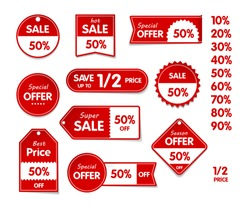 VECTOR isolated Set of price sale tags with text. Special offer, hot sale, best price, season offer.