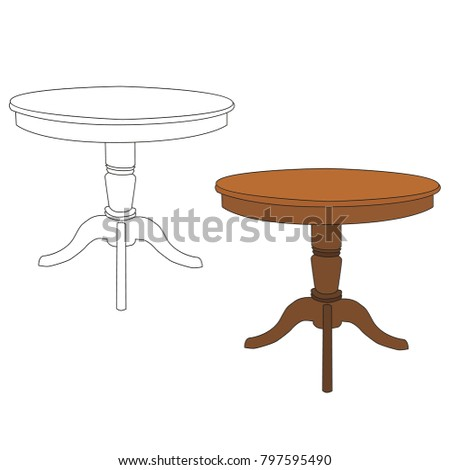 vector, isolated  set of tables #797595490
