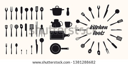 Vector isolated silhouette icon set kitchen utensils tools. stock photo
