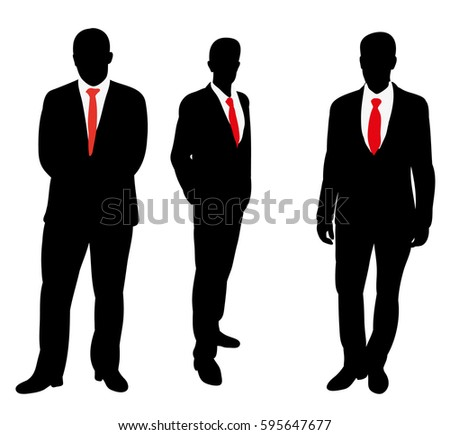 vector isolated silhouette of a business man stands in a tie