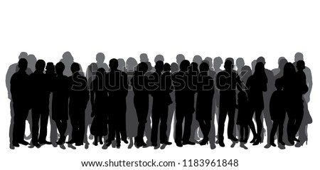 vector, isolated, silhouette of a crowd, group of people