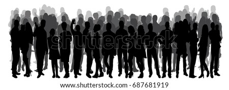 Vector, isolated silhouette of a crowd of people, rally