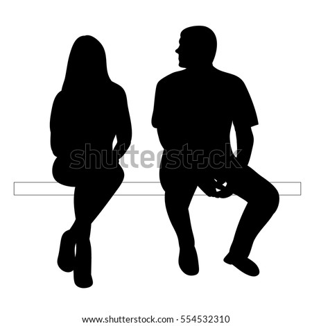 vector isolated silhouette of a girl and a guy are sitting