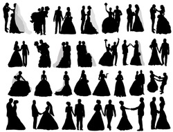 Vector, isolated silhouette of the bride and groom, a set