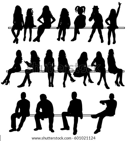 Vector, isolated silhouettes set of people sitting