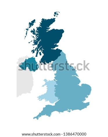Vector isolated simplified illustration icon with blue silhouettes of United Kingdom of Great Britain and Northern Ireland's provinces. Administrative division
