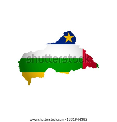 Vector isolated simplified illustration icon with silhouette of Central African Republic map. National flag. White background