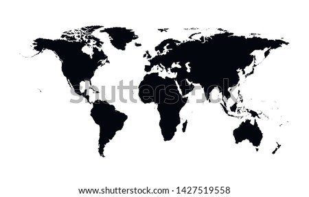 Vector isolated simplified world map. Black silhouettes, white background. Continents of South and North America, Africa, Europe and Asia, Australia, Indonesian islands