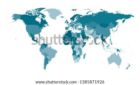 Vector isolated simplified world map with states borders. Blue khaki silhouettes, white  background. Note: Morocco and Western Sahara shown separately