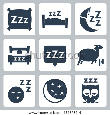 Vector isolated sleep concept icons set: pillow, bed, moon, sheep, owl, zzz