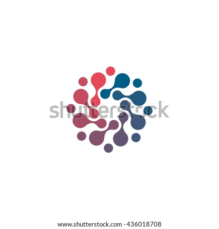 Vector isolated sun logo design template. Abstract dots symbol. Icon round shape.