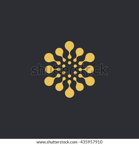 Vector isolated sun logo design template. Abstract dots symbol. Round unusual shape.