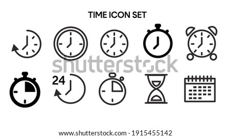 Vector Isolated Time and clock line icons. Set of vector linear icons. Foto stock ©