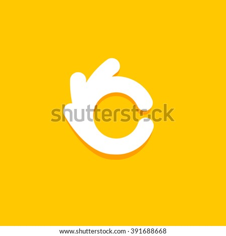 Vector isolated unusual logo. Good job. All perfectly. Well done. Great. Checked. Fingers hands shows Its OK. White color design element on yellow background.