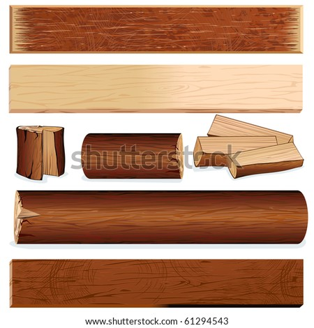 vector isolated wooden objects