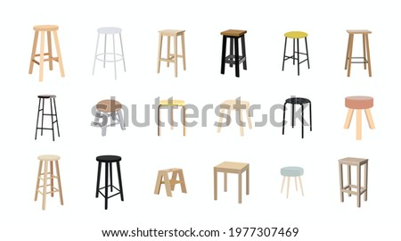 Vector isolated Wooden Stools Set, Vector illustration set of different stools
