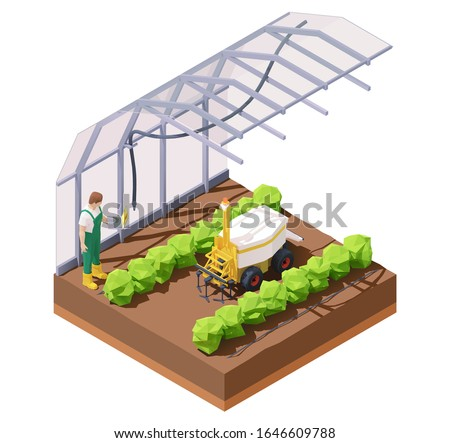 Vector isometric agricultural greenhouse weeding robot. Multifunctional farming robot. Smart farming. Robot removing weeds in greenhouse. Farmer programming robotic tractor