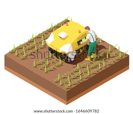 Vector isometric agricultural robot EV working in crop field. Multifunctional farming robot. Smart farming. Robot removing weeds from row crops. Farmer programming robotic tractor