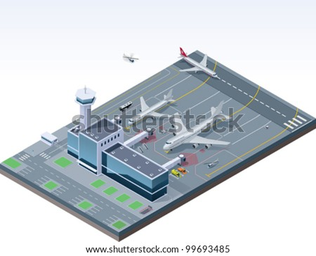 Vector isometric airport building with traffic control tower and airplanes on the apron and runway