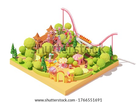 Vector isometric amusement park map. Theme park with Ferris wheel, roller coaster, carousels, bumper cars, circus and other amusement rides. Funfair illustration