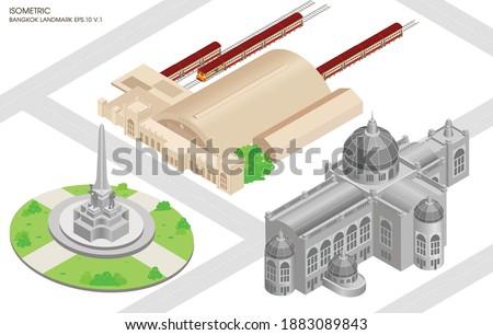 Vector isometric Bangkok Thailand., flat isometric design of landmark Bangkok., set of isometric landmark Bangkok Thailand.