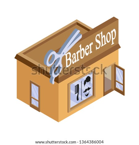 Vector isometric barbershop. Facade of barbershop isolated on white background. Barber house. Cuts hair building. Barbershop emblem. Vector graphics to design