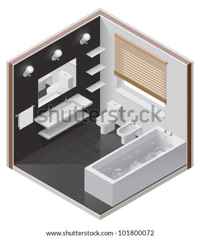vector isometric bathroom icon