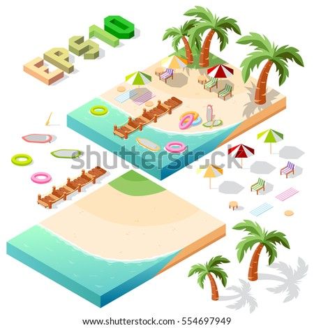 Vector isometric beach objects minimal isolated on white background