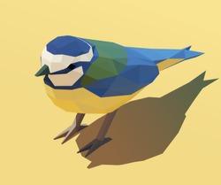 Vector isometric bird Blue Tit [Cyanistes caeruleus]. Low poly 3d vector illustration.