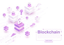 Vector isometric blockchain concept background with blocks, cubes and circuit board. Cryptocurrency, digital money, smart contracts, modern internet technology for electronic business