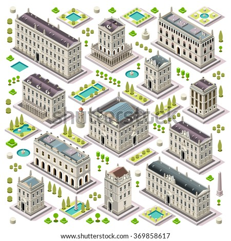 vector isometric building city